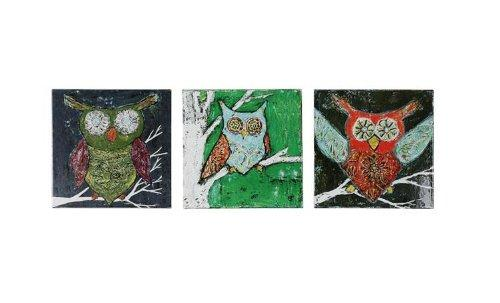 Creative Co-Op Square Lacquered Canvas Wall Décor with Owl Image, Set of 3