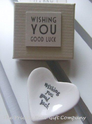East of India Good Luck White Porcelain Heart Dish Gift - Good luck charm gift