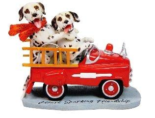 Travel Dogs Figurine - Heart Sparking Friendship - Dalmations in Firetruck