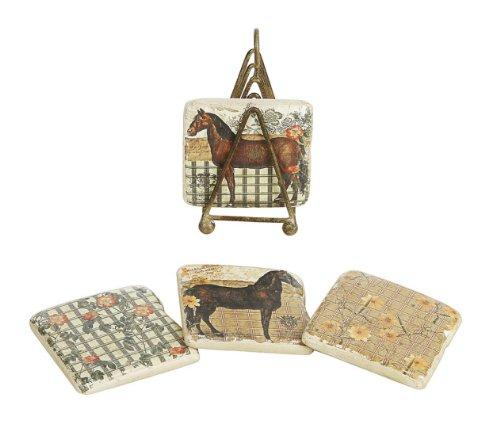 Creative Co-op Shabby Chic Le Cheval (Horse) Et La Rose Coasters with Metal Stand, Set of 5