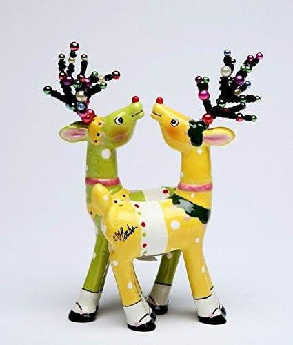 Appletree Design Magnetic Deer Salt and Pepper Shakers, Yellow and Green