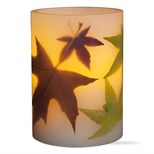 Tag Multi Harvest Autumn Leaf LED Pillar Candle