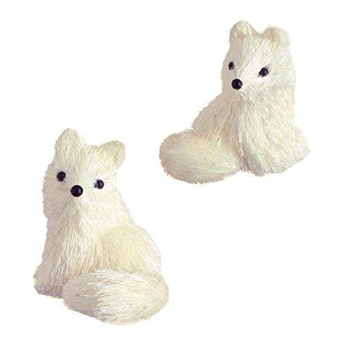 "Pair 3"" White Sisal Sitting Bushy Tail Fox Christmas Ornament"