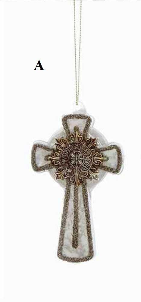 Creative Co-Op Twelve Days of Christmas Collection Glass Cross Ornament, Ivory With Silver Detail, Choice of Style - Creative Co-op