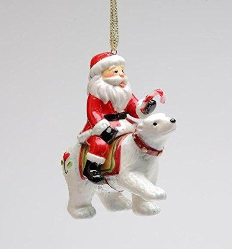 Cosmos Gifts Santa Riding Polar Bear Ornament