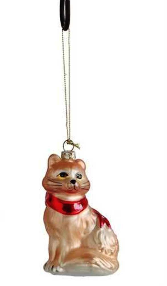 Creative Co-Op Country Christmas Collection Glass Sitting Cat Ornament, Choice of Color