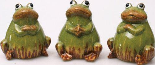 Ceramic Frog Figurines, set of 3, by Transpac Imports