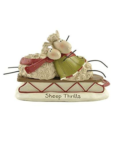 "Blossom Bucket ""Sheep Thrills"" Sheep On Sled Figurine"