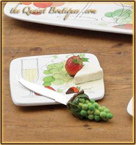 Certified International Vino 6-Inch Cheese Plate with Knife - Gifts From A Distance