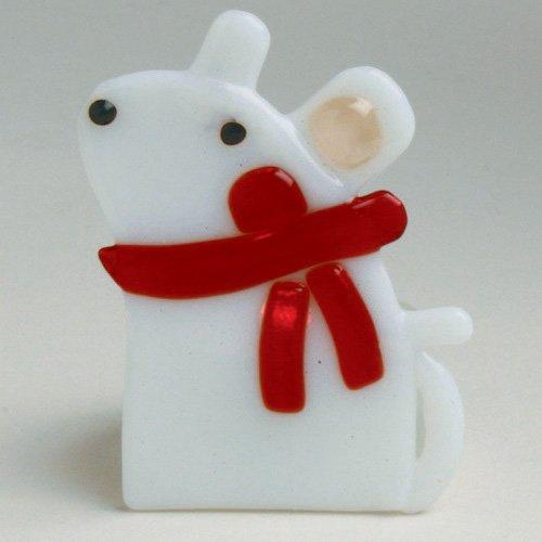 TAG Whimsical Mouse Fused Glass Tealight Holder