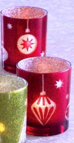 TAG Happy Holidays Glittered Glass Tealight Holder, Choice of Color