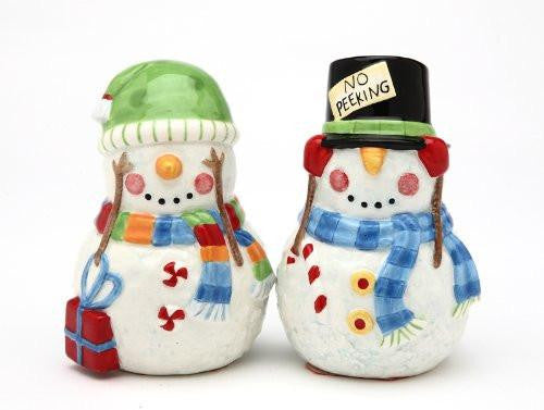 Appletree Design No Peeking Snowman Salt and Pepper Set, 3.37-Inch Tall