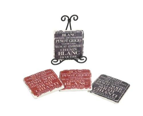 Creative Co-op Shabby Chic Wine Coasters with Metal Easel - Creative Co-op