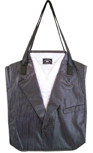 European Inspired Totes Stripe Suitor Bag in Black and White