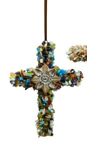 Grasslands Road Hanging Pebble Cross, Blue
