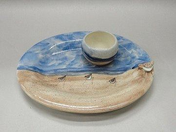 Clayton Dickson Handmade Sandpiper Chip & Dip Set, Made in Nova Scotia