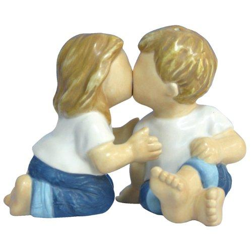 Westland Giftware Forever in Blue Jeans Magnetic Innocent Kiss Salt and Pepper Shaker - Forever In Blue Jeans