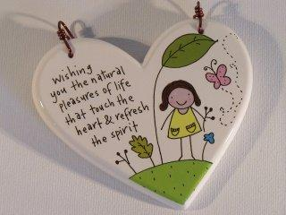 Cheering Heart Shaped Hanging Plaque