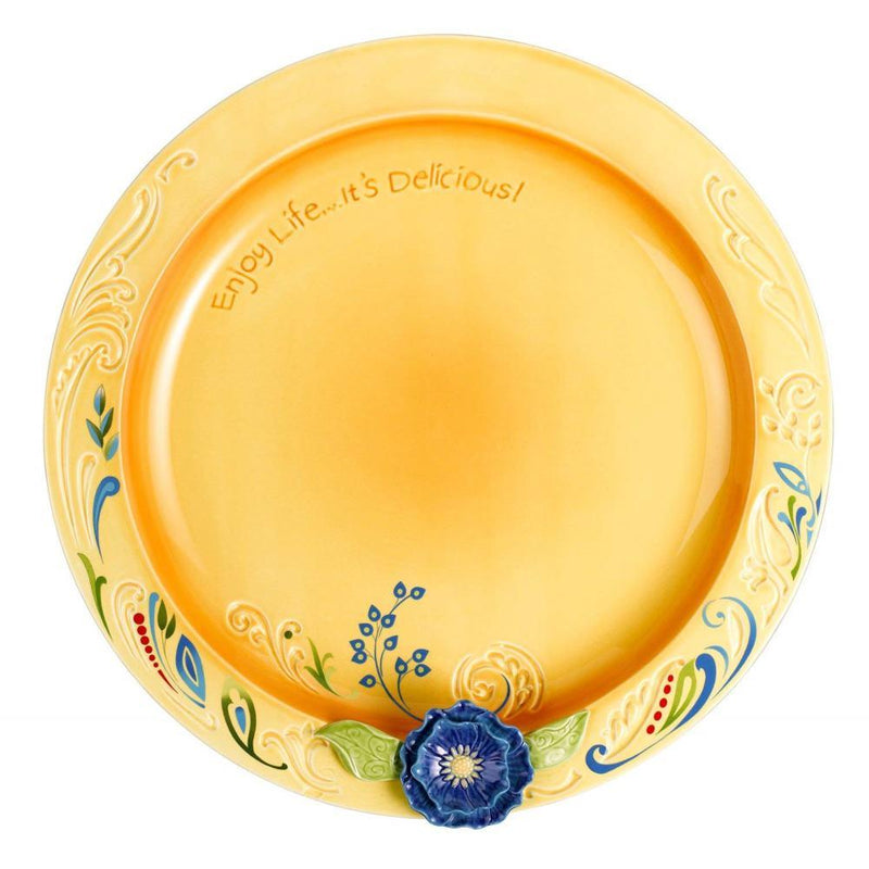 "Grasslands Road Petals 12-3/4-Inch by 1-1/4-Inch Round""Enjoy Life"" Platter"