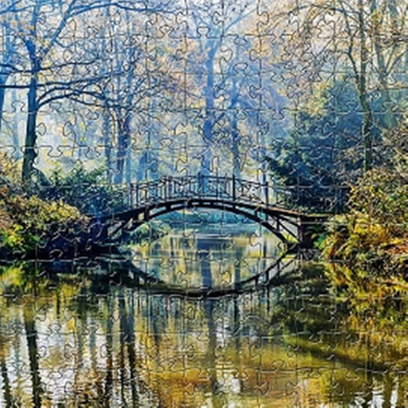 Zen Art & Design Artisanal Wooden Jigsaw Puzzle, Autumn Bridge, Small