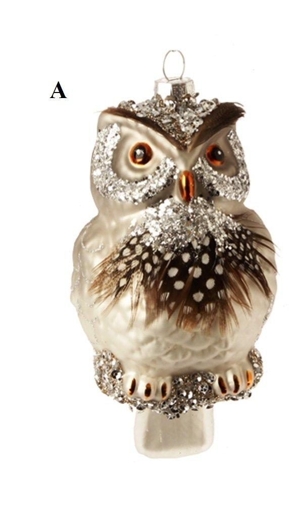 RAZ Natural Elegance Owl Ornament, Choice of Style