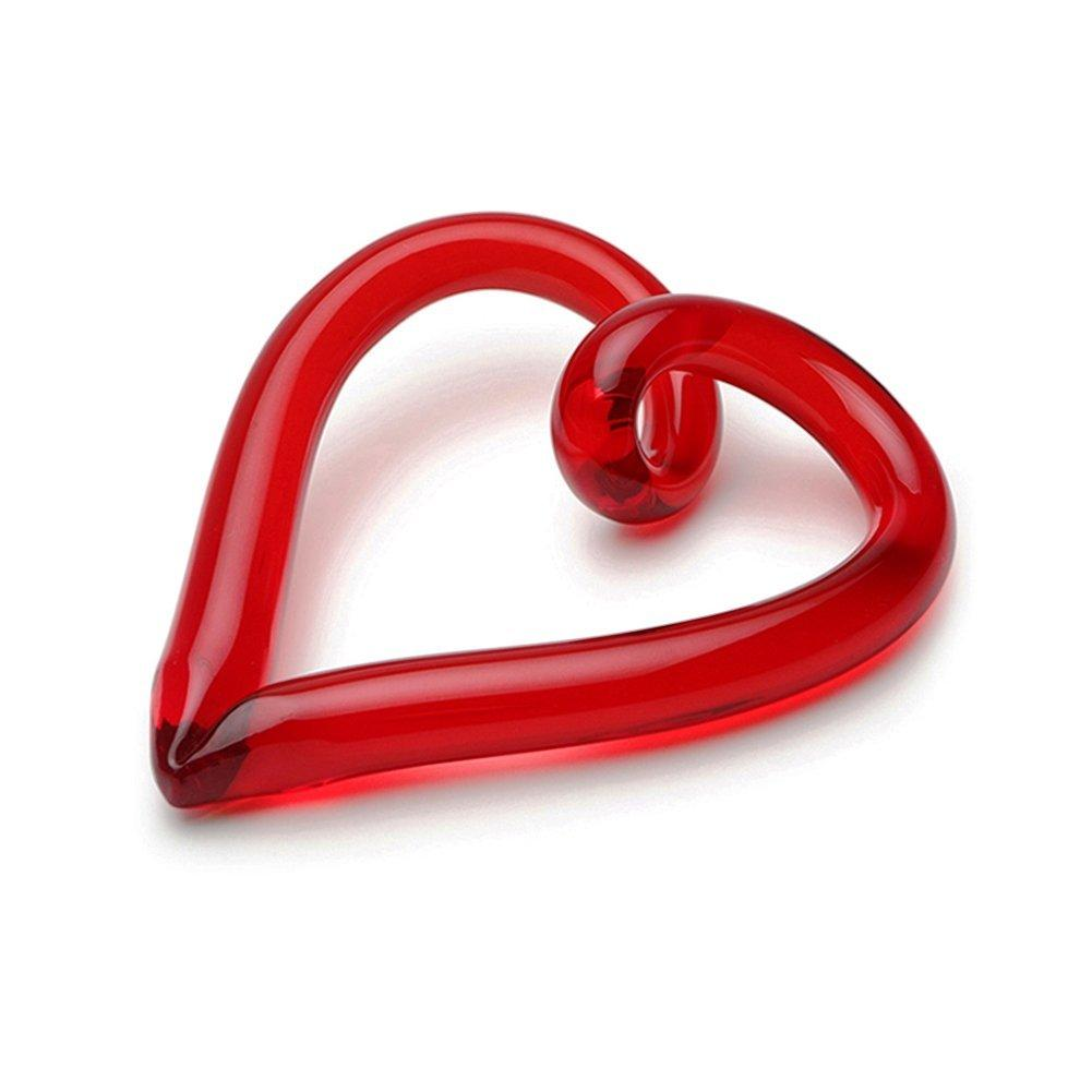 Dynasty Gallery Hearts and Ribbons Hand Blown Glass Freedom Heart, Red