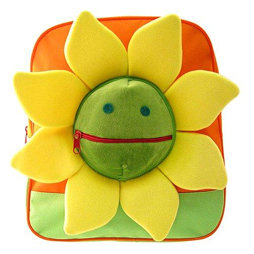 Kids Orange Backpack With Sunflower Design