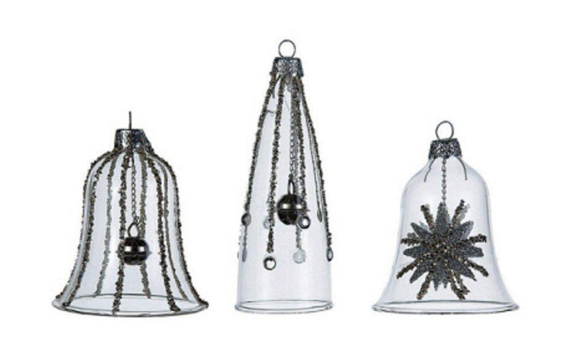 Creative Co-Op Silent Night Collection Glass Bell Ornament With Glitter, Set of 3 - Creative Co-op