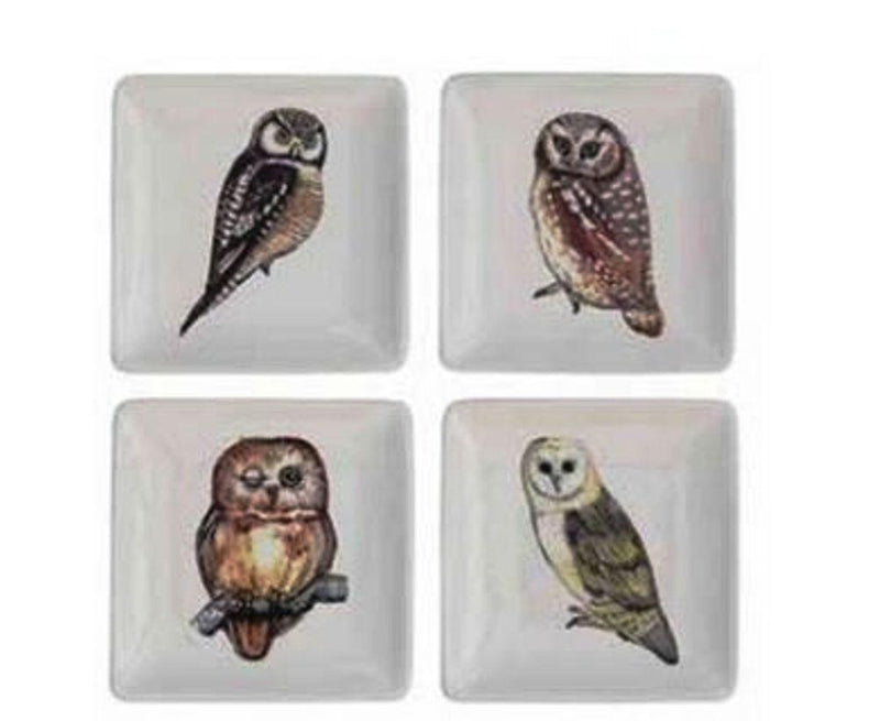 Creative Co-Op Abundant Blessings Collection Square Ceramic Plate with Owl Image, Set of 4