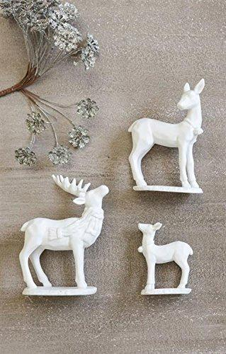 "Creative Co-Op Ceramic Deer Statue (Set of 3), 5.25"", White"
