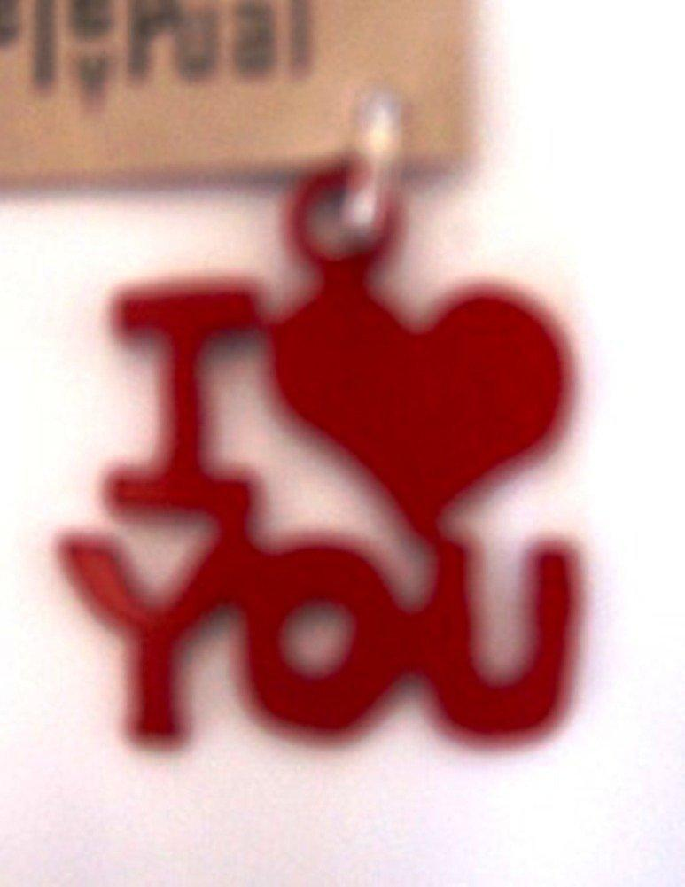 Handmade Dog Collar Charm by Jendala, I Love You, Red