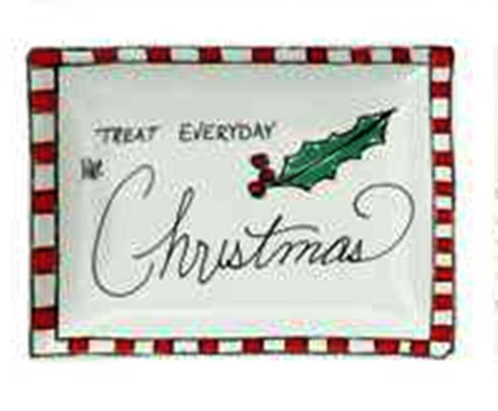 Creative Co-Op Whimsy Collection Ceramic Plate with Holiday Saying and Image, Choice of Style