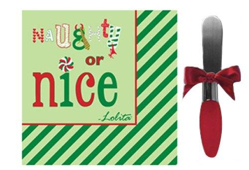 CR Gibson Lolita Napkin and Spreader Hostess Set, Naughty or Nice - CR. Gibson