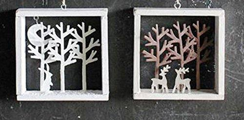 Creative Co-op Square Wood Shadow Box Ornaments, Set of 2