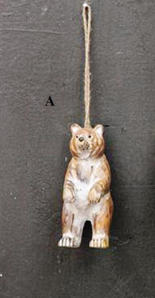 Creative Co-Op Natural Lodge Collection Hand Carved Wood Brown Bear Ornament, Choice of Style