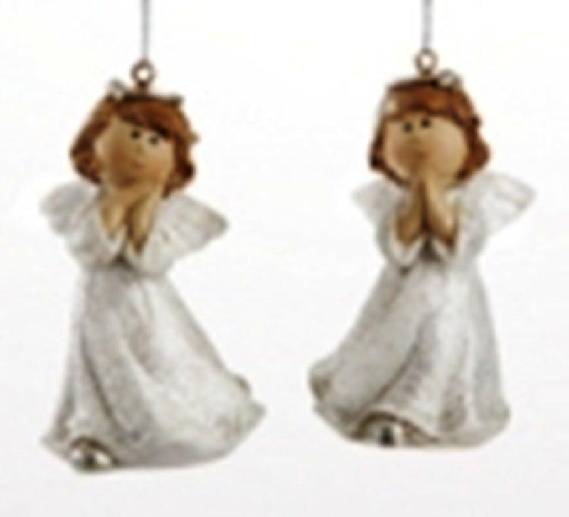 Delton Products White Glittered Angel Ornament, Set of 2
