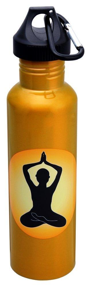 "Yoga ""Eco Fusion"" Stainless Steel Water Bottle with 2 Tops"