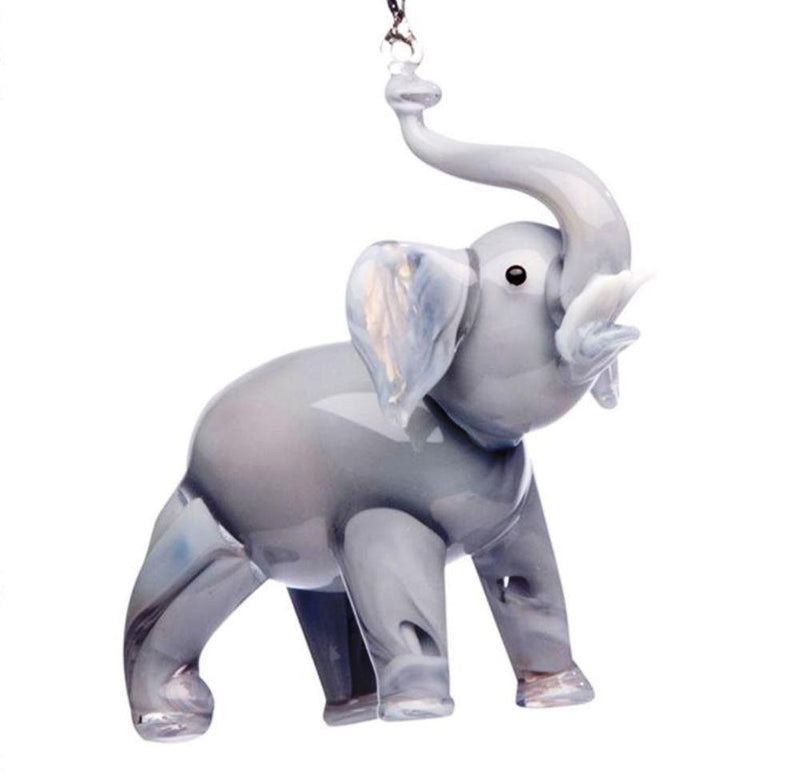 Hand Crafted Glass Christmas Tree Ornament or Figurine, Gray Elephant