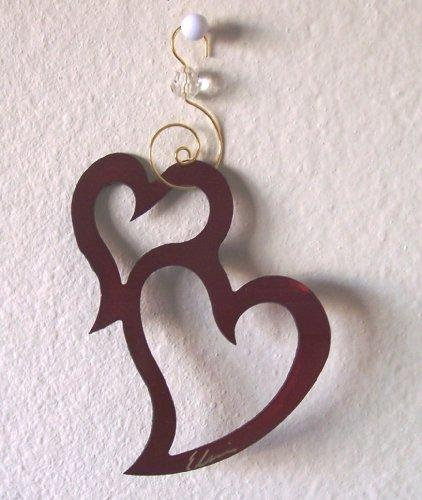Hearts Ornament/Suncatcher by Black Cat Artworks