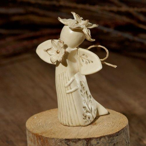 Enesco Nature's Poetry Thinking of You Flower Angel Figurine, 3-Inch