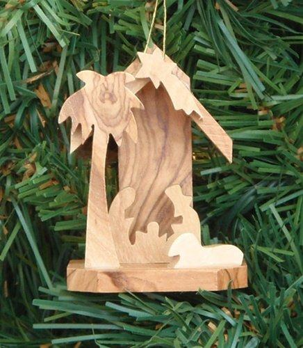 Earth Wood Grotto Nativity Ornament Made in Bethlehem - Small