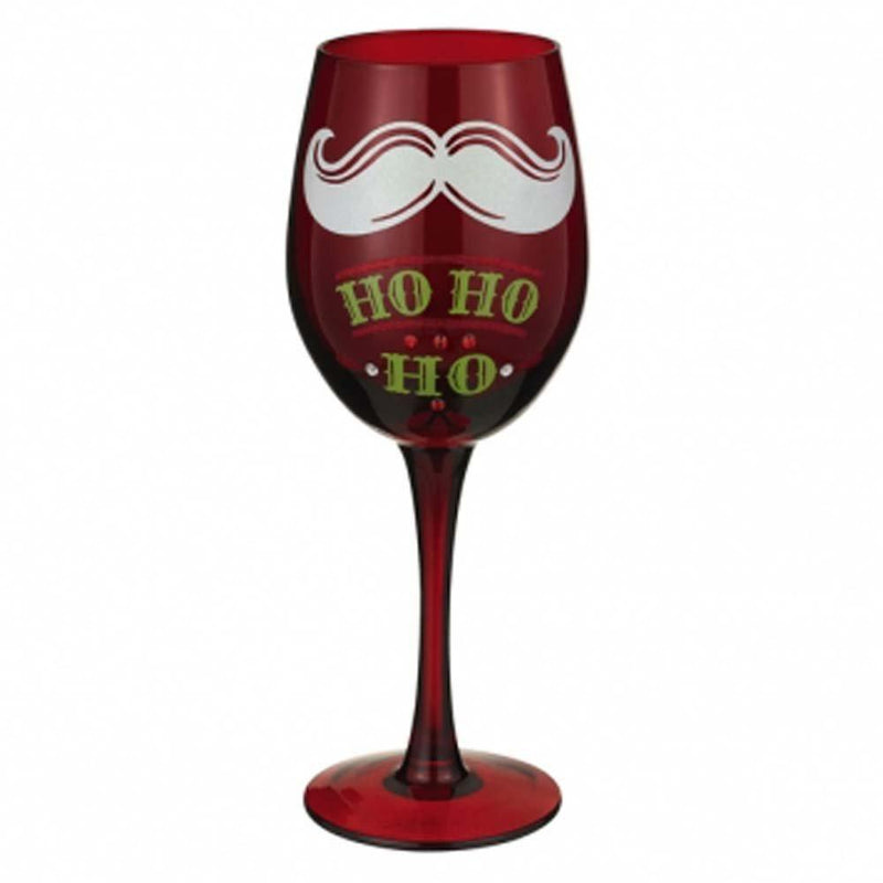 Santa's Mustache Wine Glass