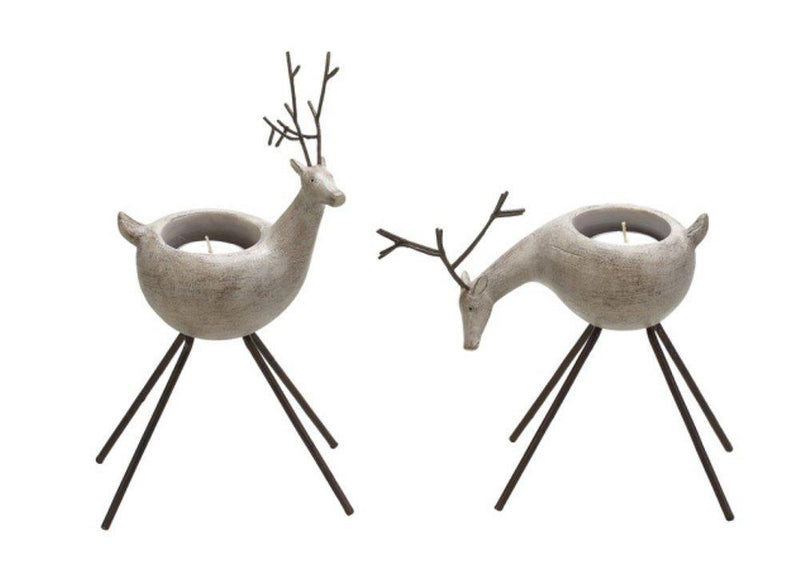 Creative Co-Op Reindeer Tealight Holder, Set of 2