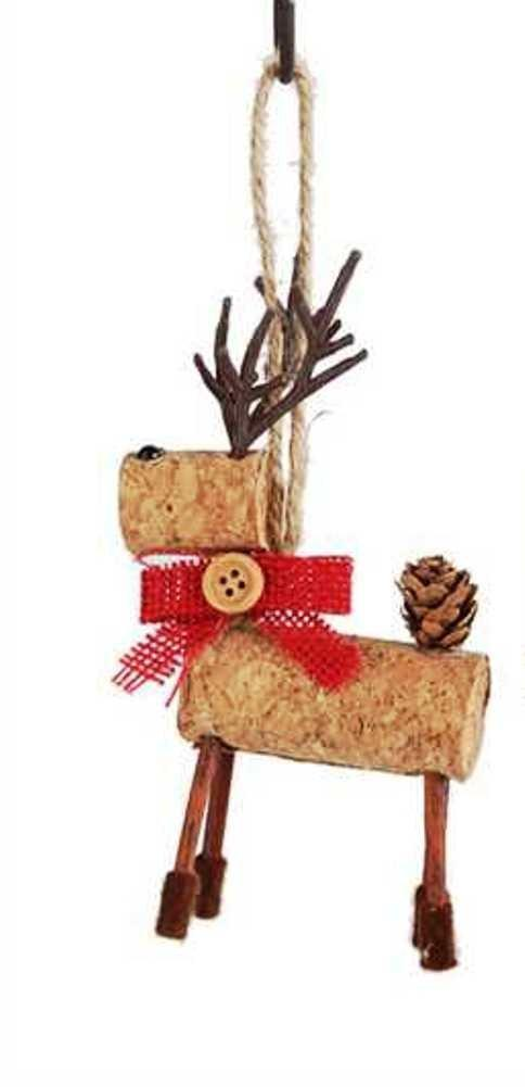 Creative Co-Op Country Christmas Collection Cork Reindeer with Bow Ornament, Choice of Color