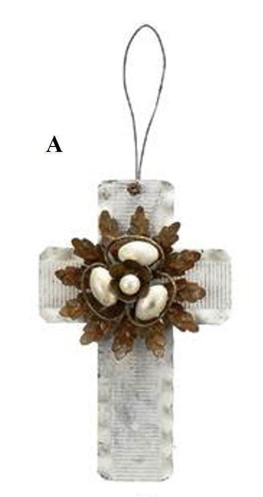 Creative Co-Op Country Christmas Collection Tin Cross Ornament With Flower, Choice of Style