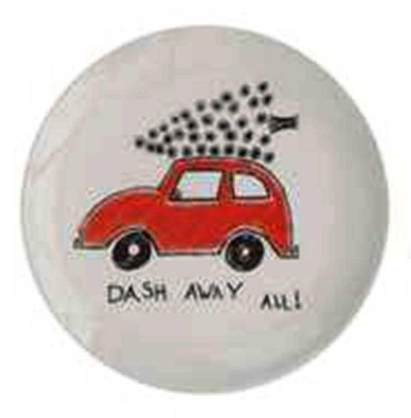 Creative Co-Op Whimsy Collection Round Ceramic Dish with Holiday Saying and Image, Choice of Style