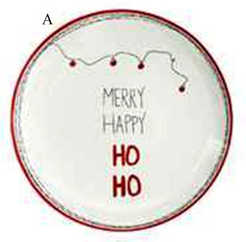 Creative Co-Op Whimsy Collection Round Ceramic Plate with Holiday Saying and Image, Choice of Style