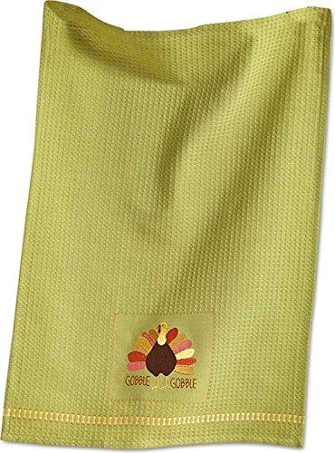 Turkey Gobble Embroidered Waffle Weave Dish Towel 205218