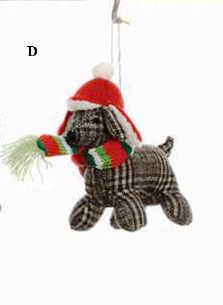 Creative Co-Op Whimsy Collection Fabric Dog Ornament, Choice of Style