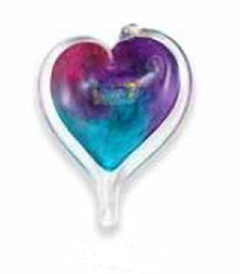 Small Heart by Luke Adams Handblown Glass, Blues, Purples, Pinks and Turquoises